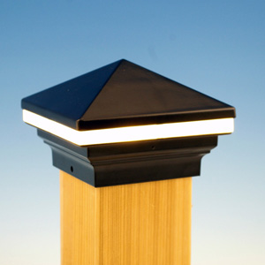 and iris led post cap light by aurora deck lighting. Black Bedroom Furniture Sets. Home Design Ideas