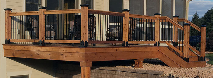 a cedar deck built with OZCO wood tie Post Anchors