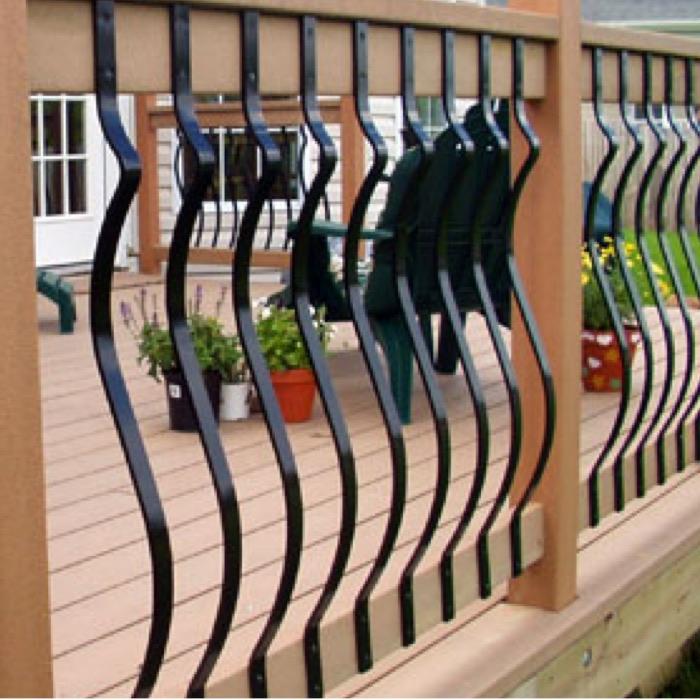 a cedar railing with Deckorators Baroque Aluminum Face Mount Balusters in Black