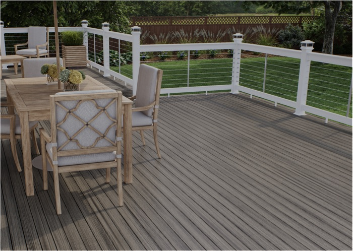 a deckorators deck with ALX railing and cable infill