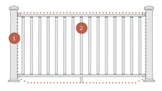 Diagram of steps to purchase Deckorators ALX Classic Aluminum Railing