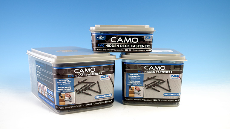 Various sized boxes of Camo hidden fasteners for AZEK PVC Decking sit in front of a blue and white background