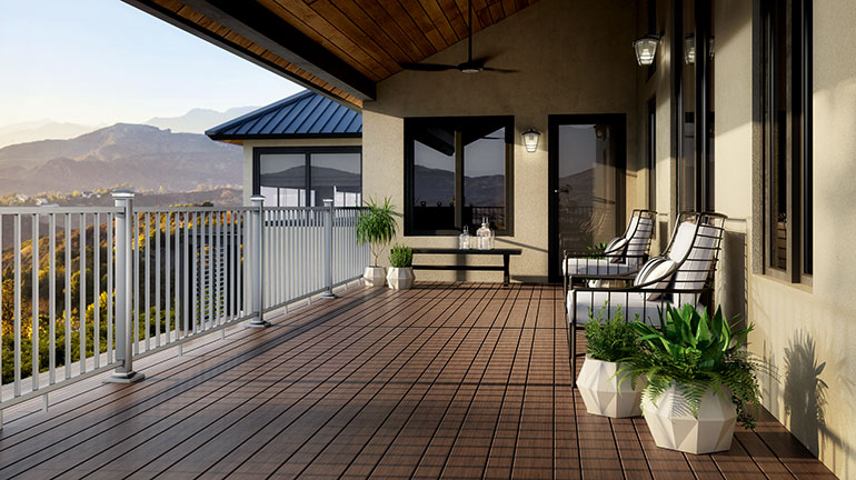 Blend your outdoor space into the beauty of your backyard with the multi-tonal options of Brown composite decking from manufacturers such as Trex, Deckorators, DuraLife, and more.