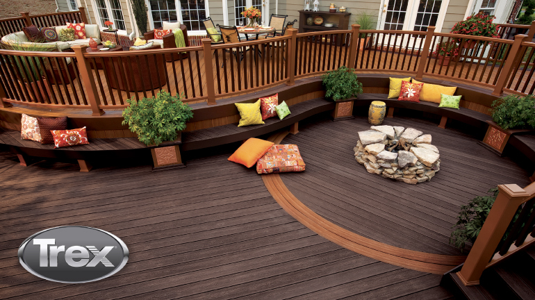Create your own outdoor kitchen and dining room with the stain-resistant durability of composite decking.