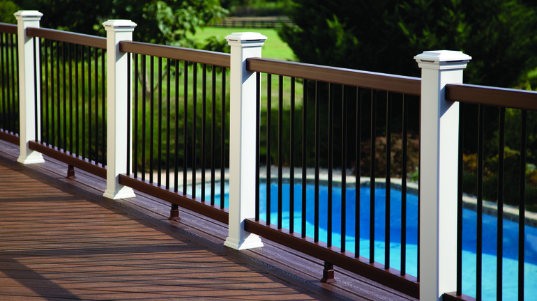 Poolside Deck With Trex Transcend Composite Railing Featuring Fire Pit Top And Bottom Rails Clic