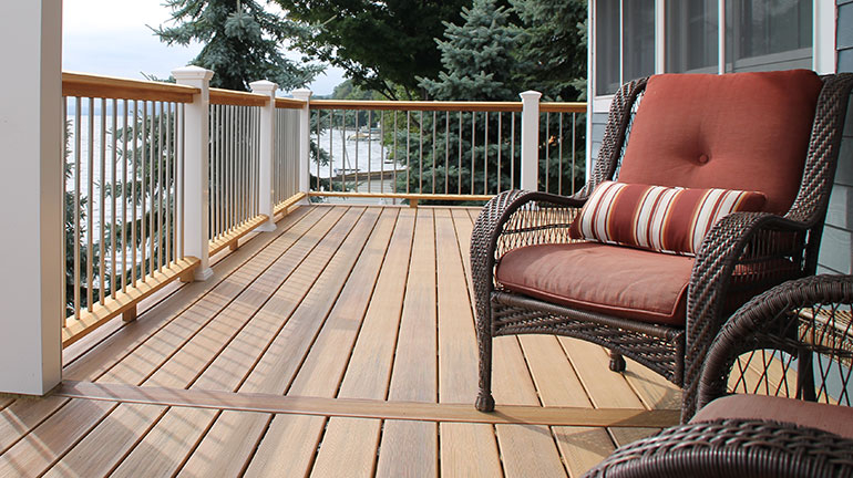 Shop the beautiful, lasting looks of the top composite decking brands available today such as TimberTech AZEK Harvest decking in Island Oak.