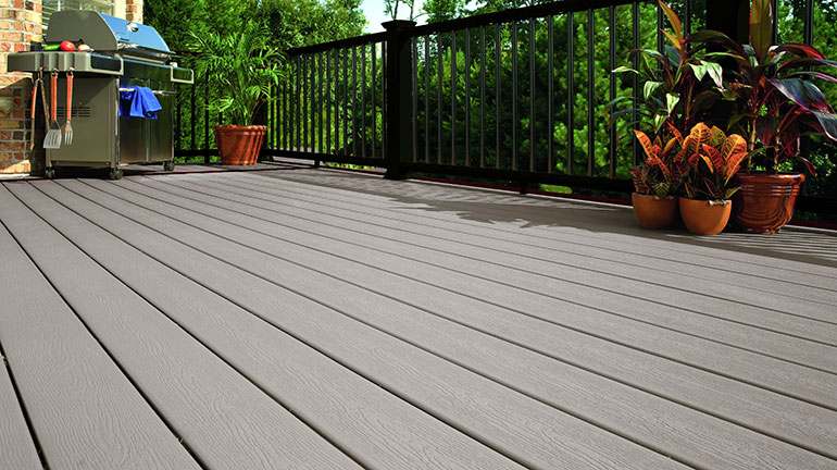 Help your deck become an open, comfortable space for your friends and family with the inviting look of Gray composite decking from manufacturers such as Trex, Deckorators, DuraLife, and more.