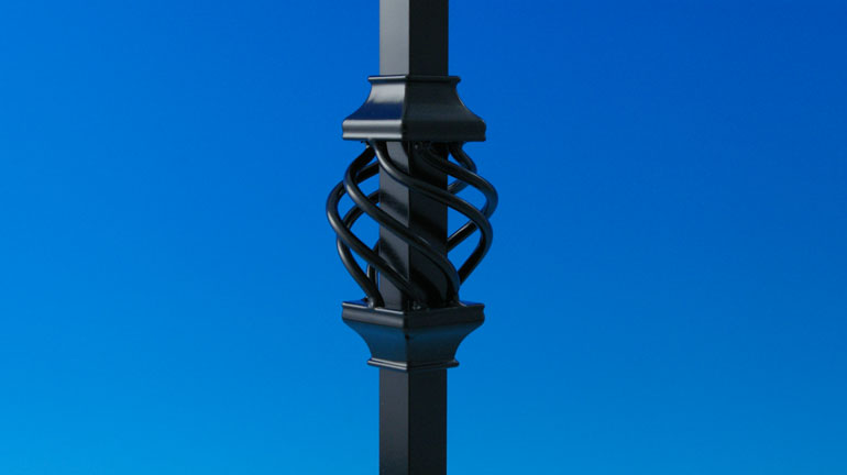 Black Basket Accessory by Deckorators installed on a square black baluster infront of a blue background
