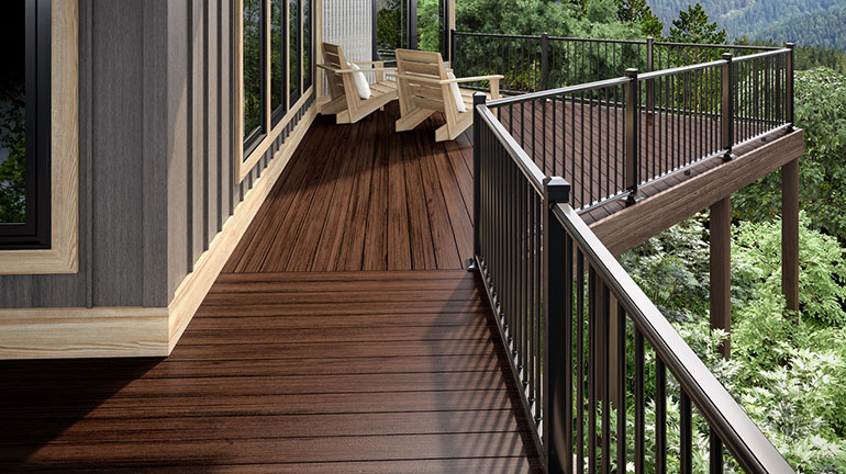 Give your deck depth and dimension with the rich tones of Deckorators Heritage Deck Boards in Riverhouse.
