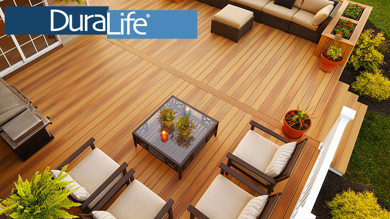 Create a beautiful complete look for your outdoor space with DuraLife composite decking in Teak and coordinating outdoor furniture.