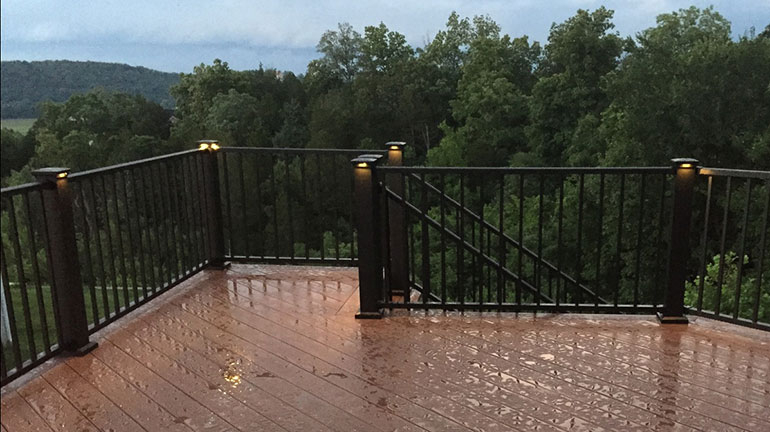 deck accent lighting. Fortress Accent Lighting. Flat Pyramid Post Caps With LED Light  Modules Illuminate A Wood And Iron Deck Railing Accent Lighting