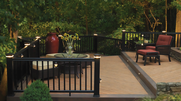 Keep your outdoor parties going into the night with deck lighting.