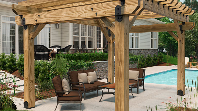 A pergola with OZXO OWT-Lite products is a great way to an outdoor space with some shade to your backyard.