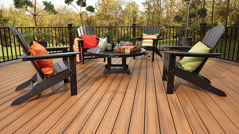 Warm and inviting, Tan Decking is one of the fade and stain-resistant Composite Decking Colors that will last for decades to come; shop from top composite decking manufacturers such as Trex, Deckorators, DuraLife, and more.