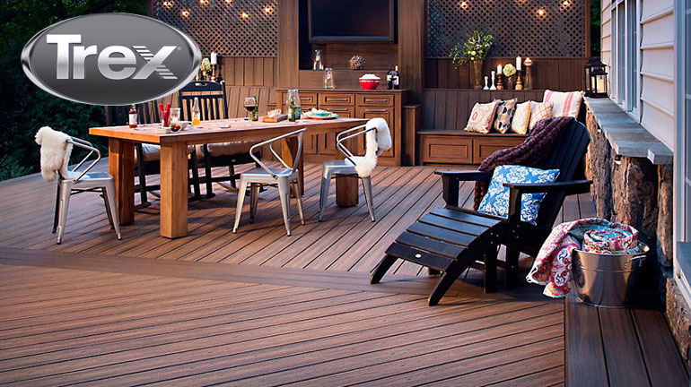 Trex Decking is a beautiful composite decking option to create the look and style of your backyard deck space