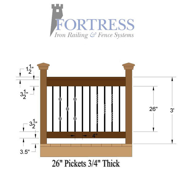 Mega Series Square Iron Twist Baluster By Fortress