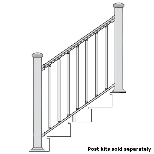 Merveilleux ALX Classic Complete Stair Railing Kit By Deckorators   Posts Sold  Separately   Textured White