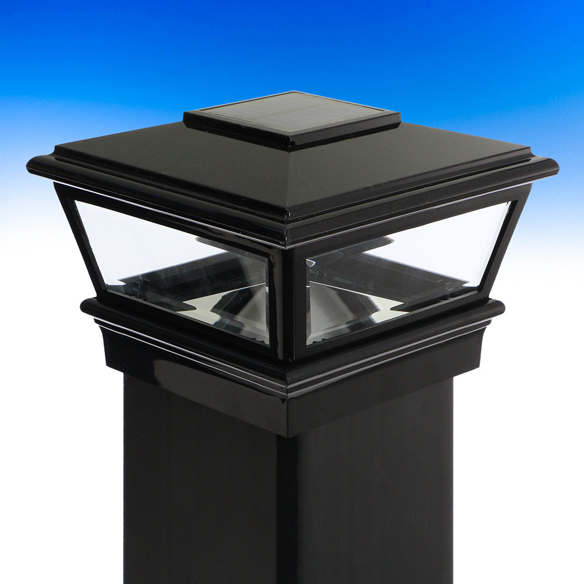 Solar VersaCap by Deckorators-4-1/16 in-Black - Installed and unlit
