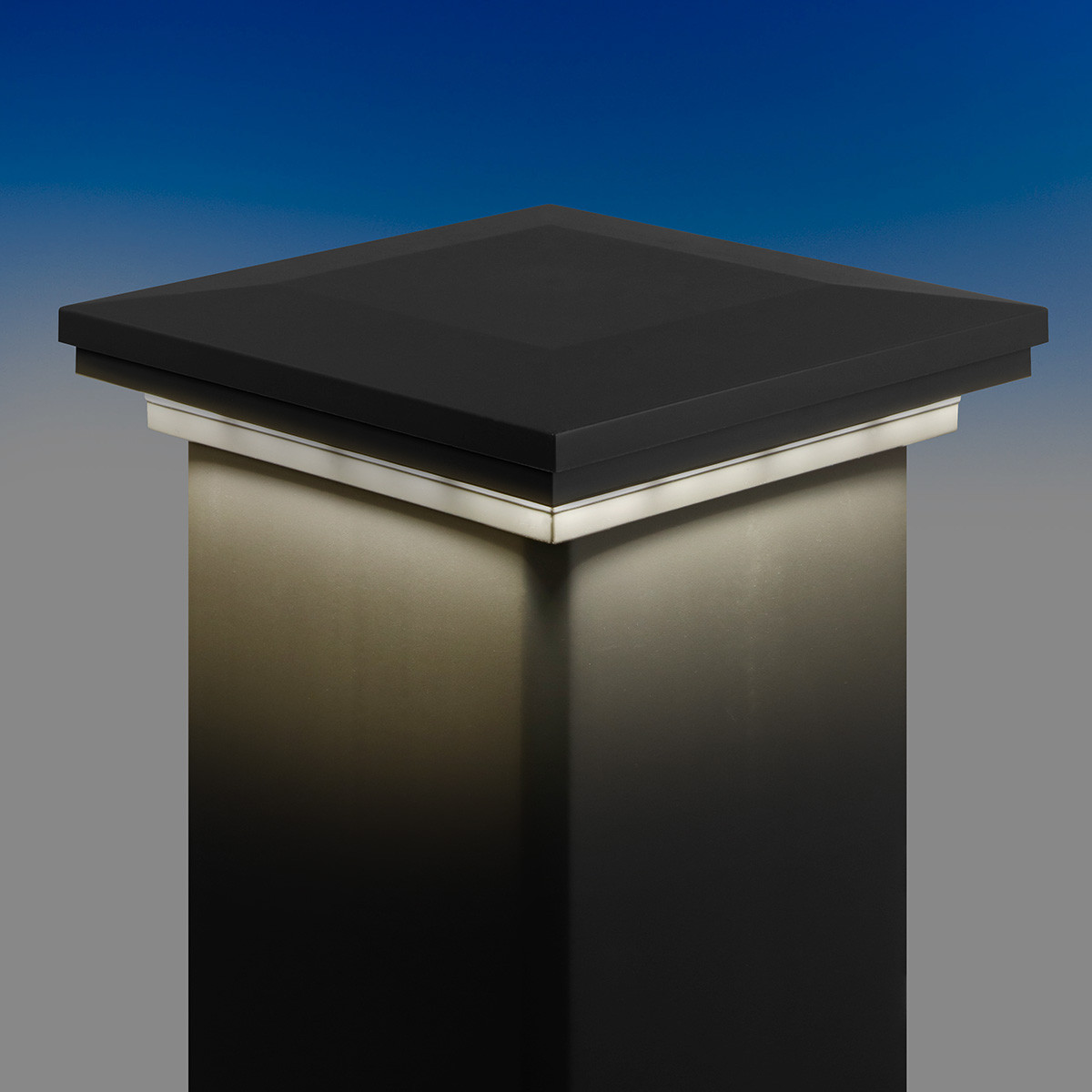 Ornamental Downward Low Voltage LED Post Cap Light by LMT Mercer - Cool (5k) Lit - Matte Black
