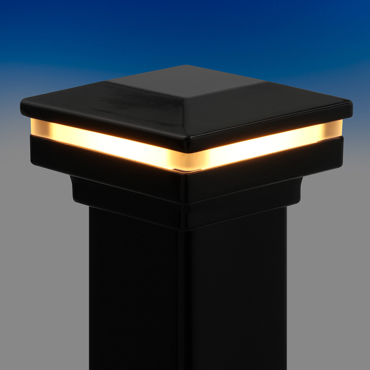 Flat Pyramid Post Cap Kit with LED Cap Glow Ring by Fortress - Gloss Black - 3 in - lit