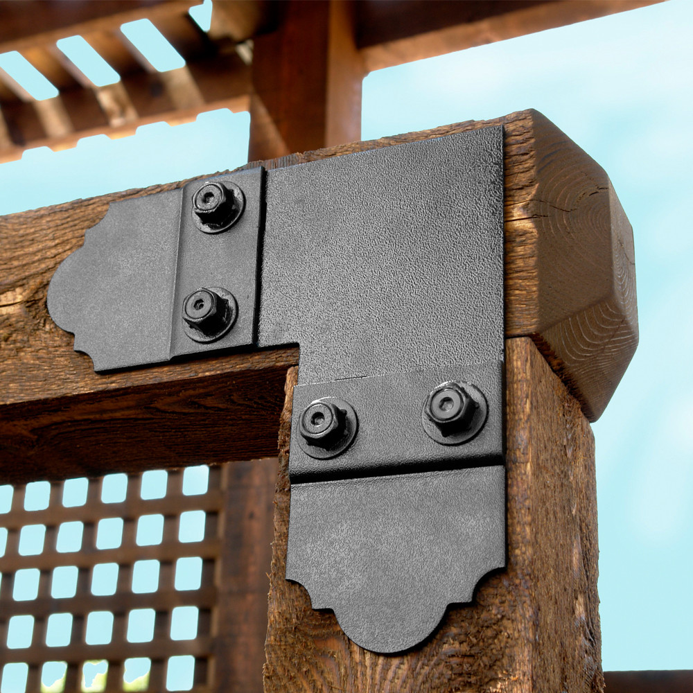 Outside Flush Tie Plate by OZCO Ornamental Wood Ties-90-installed
