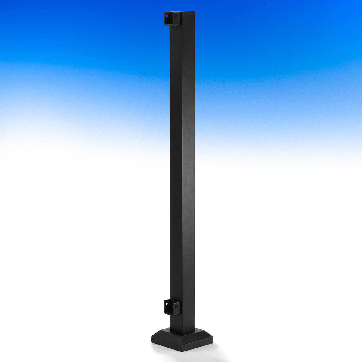 AL13 Home Aluminum Post with Skirt and Pre-Installed Brackets by Fortress - End - Textured Black - 2 x 2 in