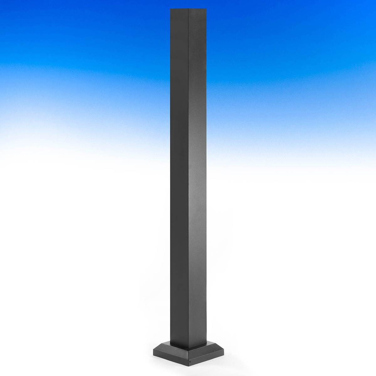 The Fortress AL13 Home Blank Post For Post-to-Post Railing, shown in a Black Sand finish, creates a strong 3 inch base.