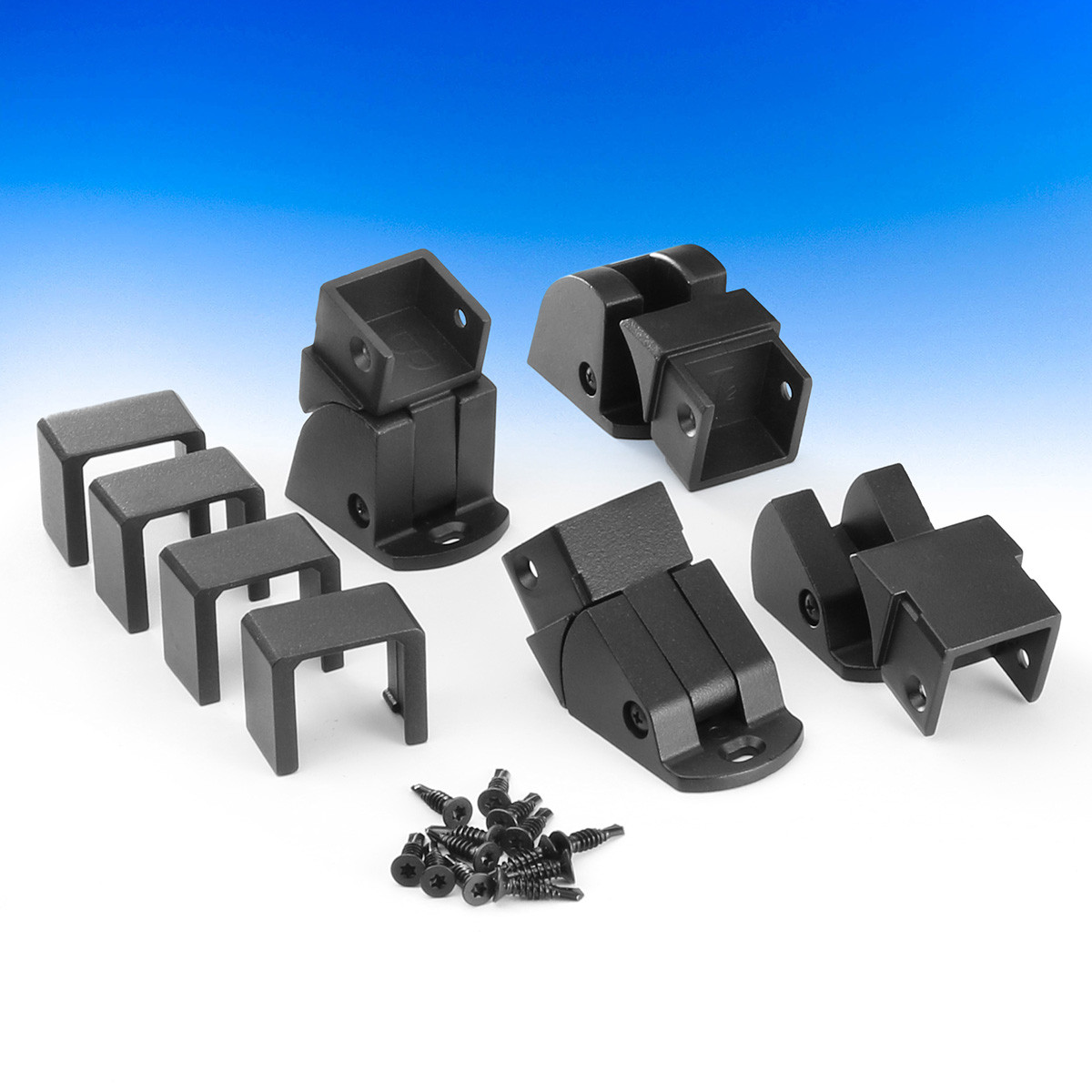 The Fortress AL13 Home Stair Rail Bracket, shown in Black Sand, contains (2) top rail brackets, (2) bottom rail brackets, and installation hardware.