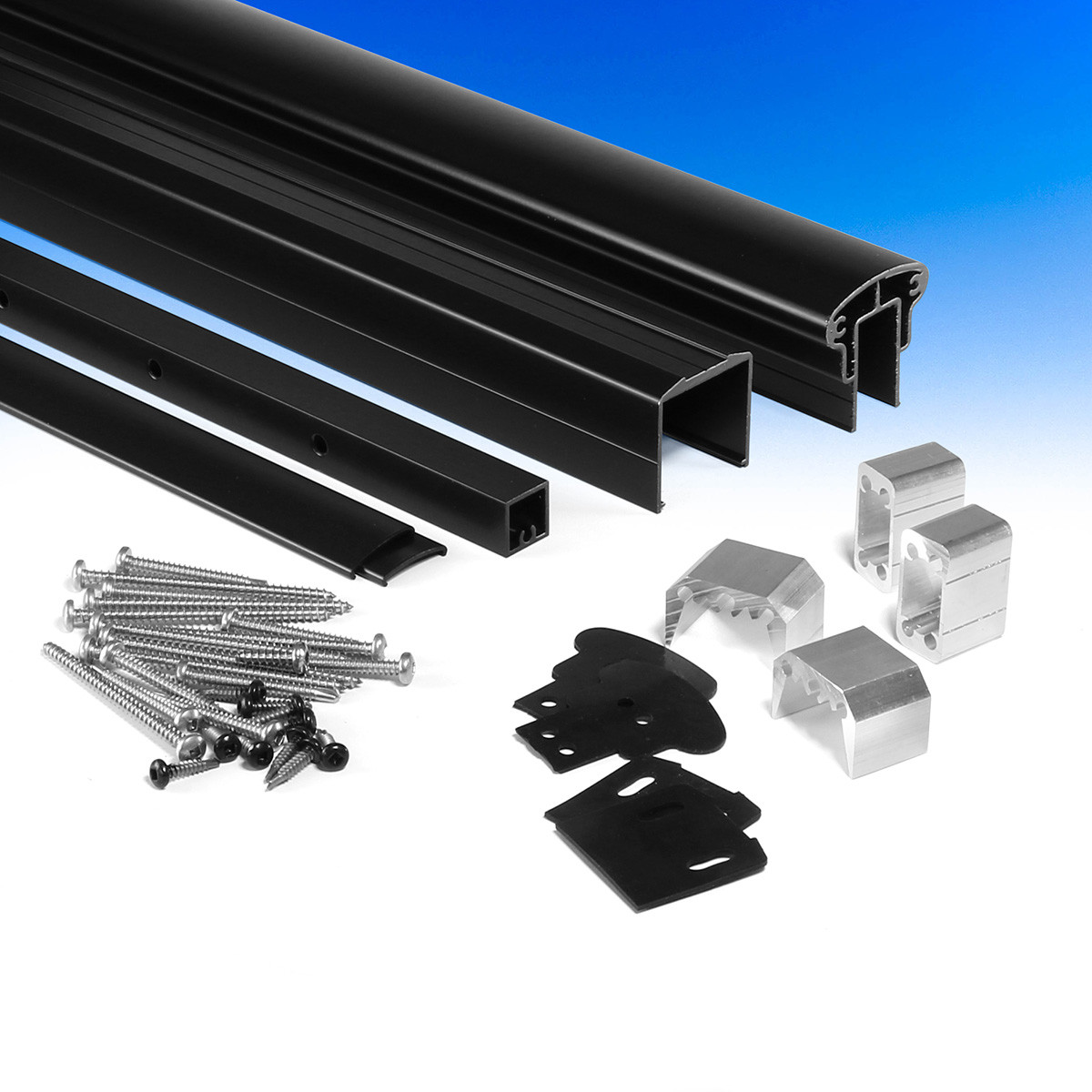 DesignRail Aluminum Level Rail Kit by Feeney - Black - Uninstalled - Package Contents