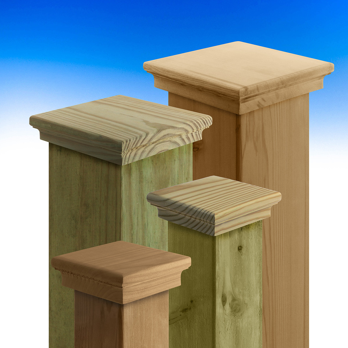 Boulevard Demi-Top Post Caps by Acorn - Cedar and Pressure Treated Pine - 3-5/8 inch and 5-5/8 inch