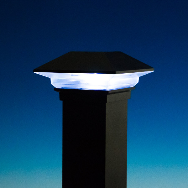ALX Classic Solar Post Cap Light by Deckorators - Matte Black - Light On