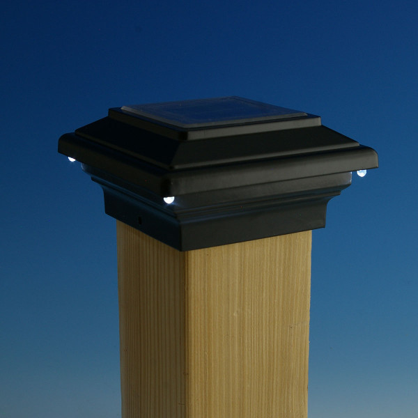 Aries Solar Post Cap Light by Aurora Deck Lighting - Black