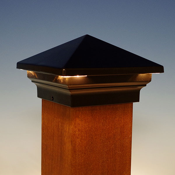 Venus Pyramid LED Post Cap by Aurora Deck Lighting - Black