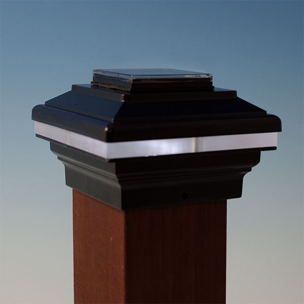Zena Solar Post Cap Light by Aurora Deck Lighting - Black