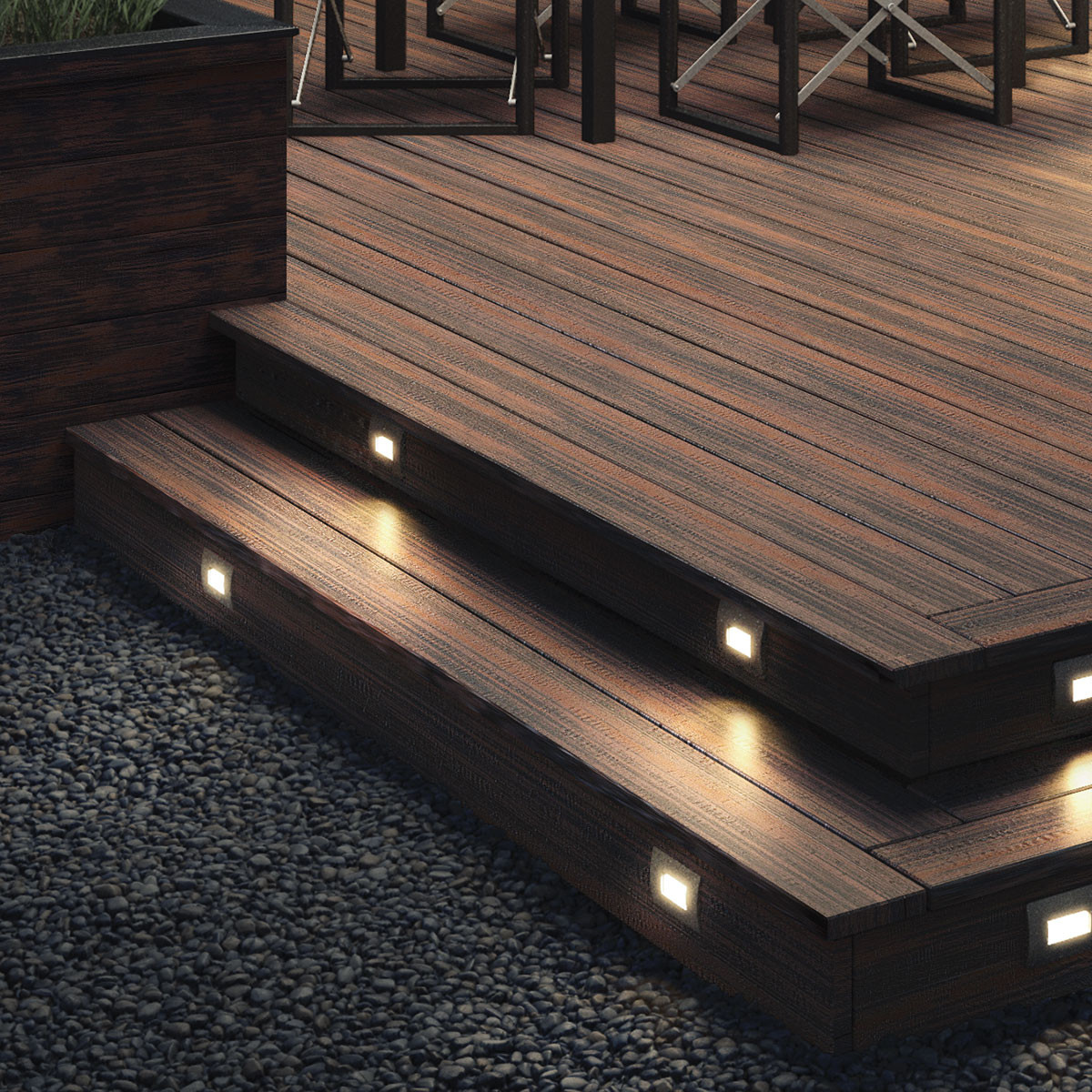 """Highlight high foot-traffic areas like stairs with Deckorators Heritage Fascia Boards in Riverhouse complete with <a href=""""/deckorators-recessed-step-light-kit.html"""">Recessed LED Riser Lights</a>."""