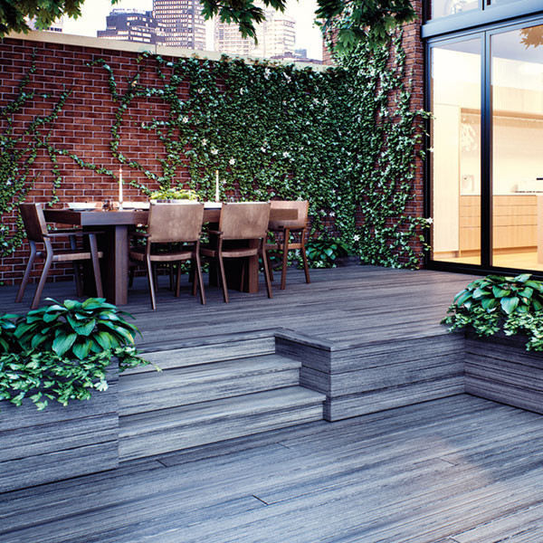 "Blend the different levels of your deck together smoothly with Deckorators Vista decking and <a href=""deckorators-vista-fascia-board.html"">Vista Fascia</a>; shown here in Driftwood."