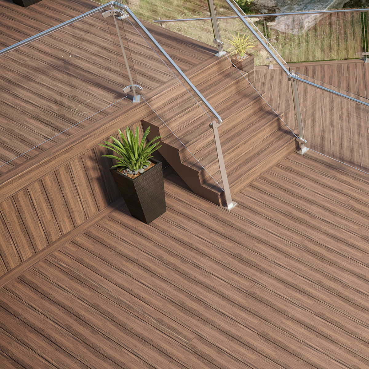"With beautiful multi-color streaking, Deckorators Voyage Fascia Boards and <a href=""deckorators-voyage-deck-boards.html"">Voyage Decking</a> create a look all in one."