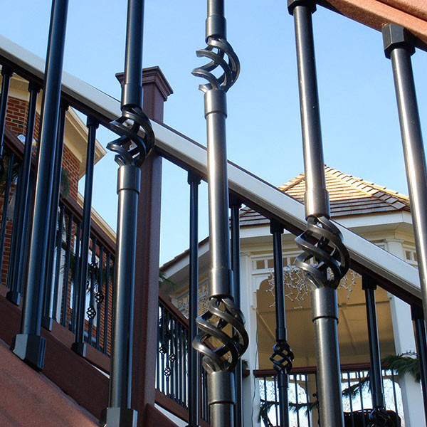 Dekor Double Basket Round Balusters paired with Single Basket Balusters and Dekor Standard Staight Round Balusters
