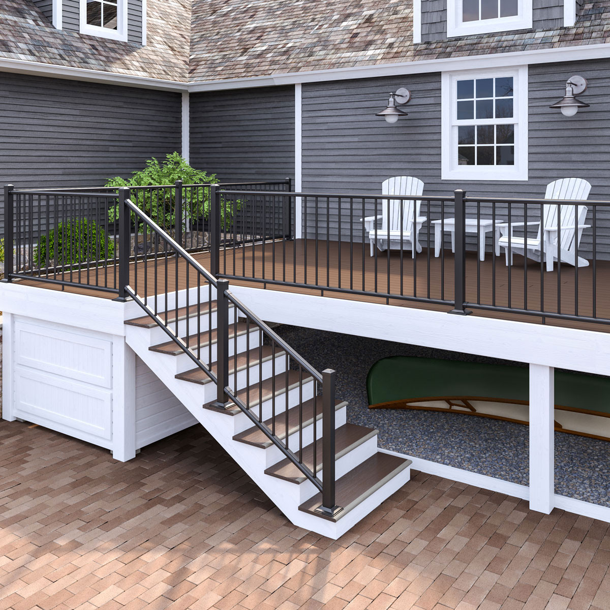 Deckorators ALX Classic Bracketed Post Kit - Satin Black - Installed with gate and panels