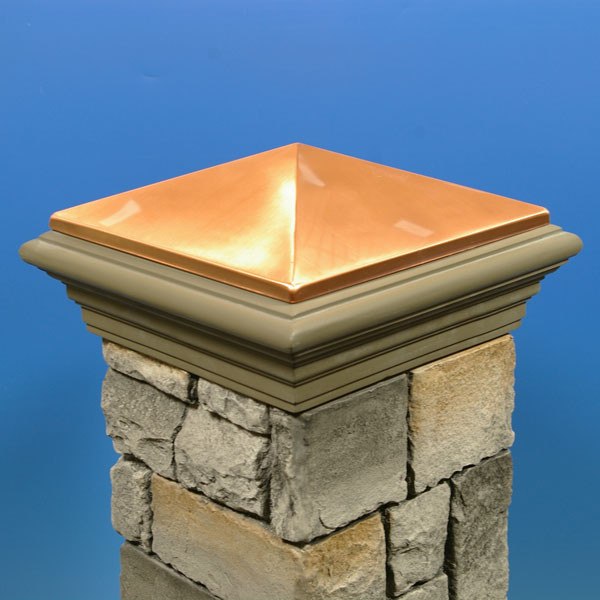 Post Cap for Cast Stone Post Cover by DecKorators - Copper Finish Cast Stone