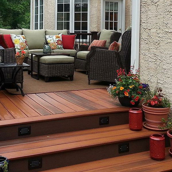 Give your a stairs a picture-perfect finish with DuraLife Riser Boards, shown in Mahogany.
