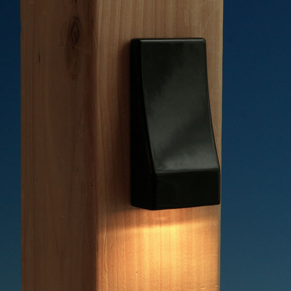 Vertical LED Post Light by Fortress Accents - 2 Pack - Gloss Black