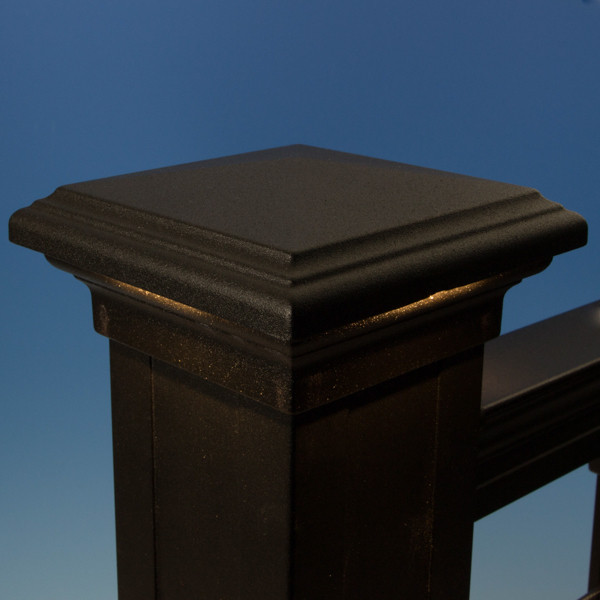 Pyramid Downward LED Post Cap Light by KeyLink - Lit