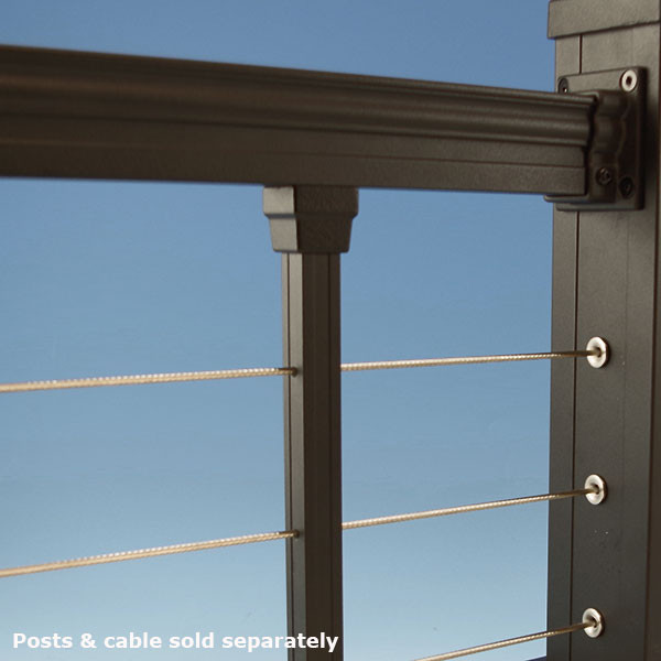 Cable Railing Top Rail Kit by KeyLink - Level (Textured Black)