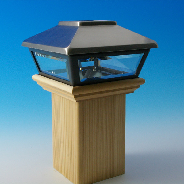 Decorative Solar Post Cap for Wood Posts by Deckorators - Stainless
