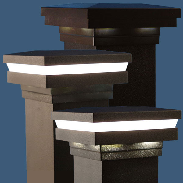 Magena Star Ornamental Low Voltage Post Cap for Westbury - All styles in Black Fine Texture - Light On