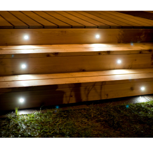 Mini Round Recessed LED Riser Light by Highpoint Deck Lighting - installed