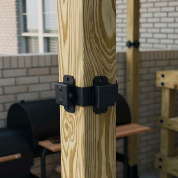 Post Band by OZCO Ornamental Wood Ties - 4x4 Installed