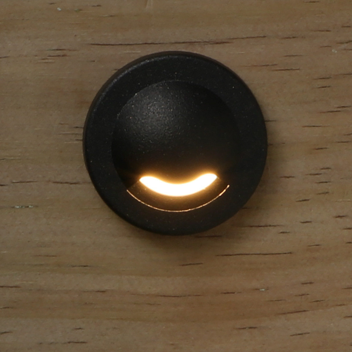 Round Recessed LED Stair Light with Cover by Dekor - Oil Rubbed Bronze - Installed - Light On