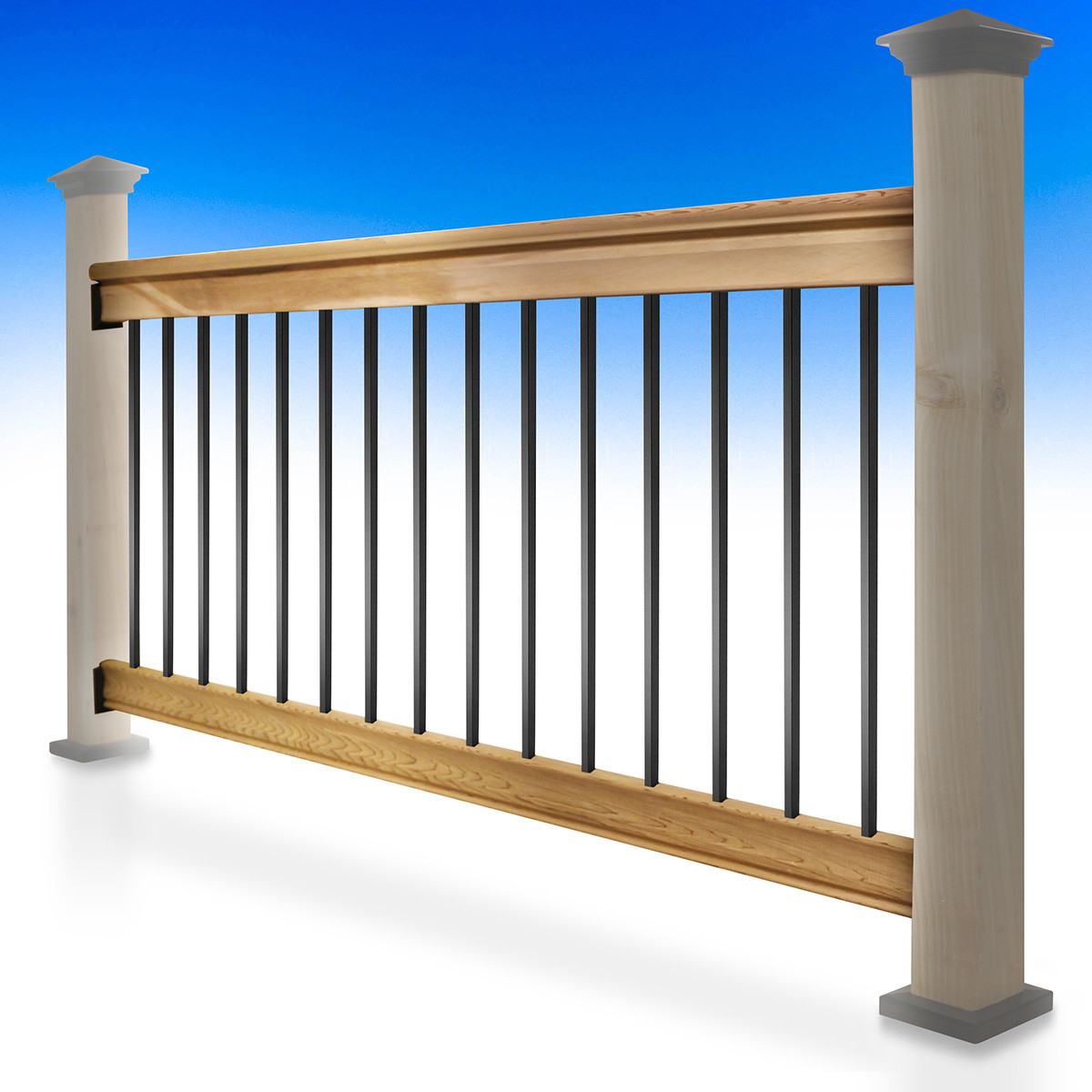Somerset Level Deck Railing Kit by Vista - black square balusters